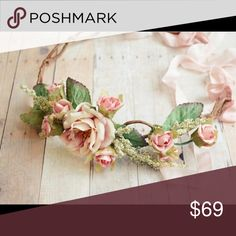 FLORAL CROWN/HEADBAND Beautiful and elegant adjustable floral headband made with silk ribbon and flowers. Feel free to make me a reasonable offer. Accessories Hair Accessories