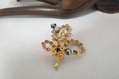 Vintage Austrian Crystal Brooch Rhinestones Gold Plated Hand Set Stones by KansasKardsStudio on Etsy