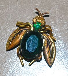 vintage Czech brooch - 1920s emerald Czech bee/insect pin