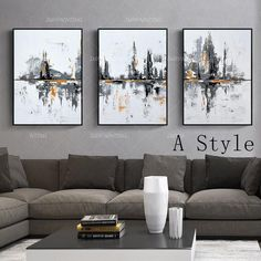 Framed wall art mountain painting water painting 3 pieces wall art Lemon yellow Original Abstract Acrylic Paintings On Canvas Wall pictures Frames On Wall, Framed Wall Art, Canvas Wall Art, Triptych Art, 3 Piece Wall Art, 3 Piece Canvas Art, Photo Deco, Orange Painting, Painting Frames