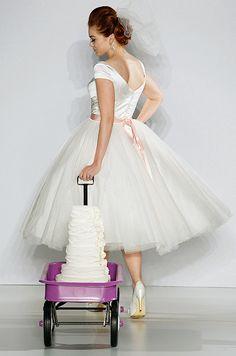 Retro tea-length wedding dress with a full tulle skirt, Matthew Christopher, Spring 2013