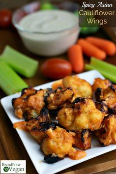 Spicy Asian Cauliflower Wings is part of Spicy Asian Cauliflower Wings Brand New Vegan - Slightly sweet with just the right amount of spice touchdown! These Spicy Asian Cauliflower Wings are perfect for the big game! Buffalo Cauliflower Bites, Cauliflower Wings, Cauliflower Recipes, Cauliflower Plant, Cauliflower Risotto, Cauliflower Tacos, Beef Recipes, Whole Food Recipes, Vegan Recipes