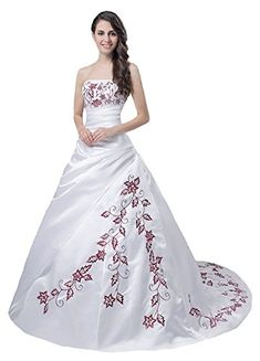 Faironly M56 Red Embroidery White Wedding Dress XL