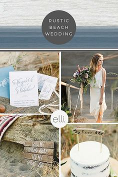 Rustic Beach wedding inspiration board with items from Elli