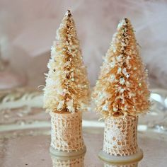 Bottle brush trees w/glitter, spools, old lace & vintage button