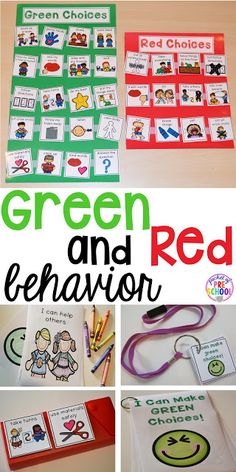 Green and red choice behavior management techniques (posters songs individual choice boards class books and children's books to support) perfect for preschool pre-k and kindergaten Behavior Management System, Classroom Behavior Management, Class Management, Autism Classroom, Special Education Classroom, Behavior Interventions, Choice Boards, Social Emotional Learning, School Counseling