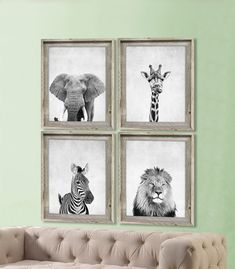 Set of 4 Safari Animal Prints - Elephant, Giraffe, Lion, and Zebra! (actual physical prints sent to you)  Pick any four from my shop! Just note which ones in the Notes to Seller when purchasing.  Take a look at over a hundred more nursery prints in our nursery decor shop. Nursery art makes for great personal gifts at baby showers or to welcome a loved one into the world! www.etsy.com/shop/CocoAndJames…
