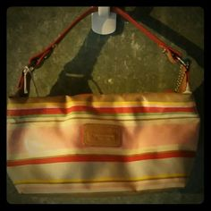 Coach handbag Small multicolor coach handbag.  Marks on inside as seen in pic and mark on outside.  Price reflects. Coach Bags Mini Bags