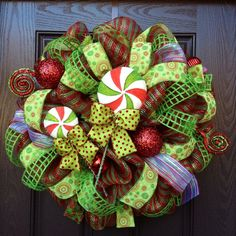 Deluxe Lollipop Deco Mesh Christmas Wreath. $125.00, via Etsy.