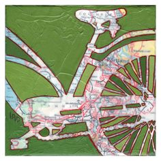 Bike Portland Archival Print of bicycle map by OffTheMapArt  What about a map of Paris with the Eiffel tower taped off, etc.?