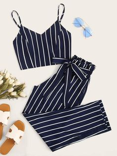 Striped Shirred Cami Top With Pants - - Striped Shirred Cami Top With Pants – Kidenhome Source by jmaalpiica # Outfits pantalon Cute Lazy Outfits, Teenage Girl Outfits, Crop Top Outfits, Girls Fashion Clothes, Teen Fashion Outfits, Cute Fashion, Outfits For Teens, Pretty Outfits, Stylish Outfits