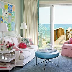 Colorful Oceanfront Living Room - 17 Ways to Decorate with Pastels - Coastal Living