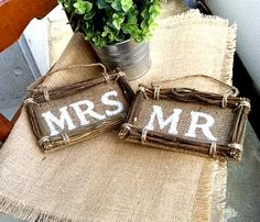 BURLAP WEDDING Mr. & Mrs.- Rustic Wedding Signs- Just Married on Etsy, $22.21 AUD