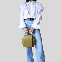 Gaia Large Aurea Collection By Onesixone Olive Colour  #onesixonebags #leatherhandbags #fashion #trends #jeans #momjeans #mariabernard