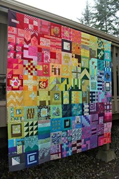 I'm feeling kind of apologetic for sharing my City Sampler quilt top again. But gee whiz! Tula Pink herself(!) chose it as the 2nd place winner in the City Sampler Sew Along contest. Yup, I'm beyond t