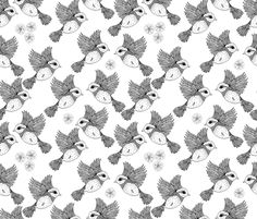 Flying Birds Outline fabric by valerinick_ on Spoonflower - custom fabric