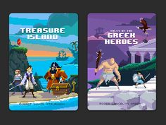 Puffin Pixels covers - Treasure Island and Greek Heroes by Michael B. Myers Jr.