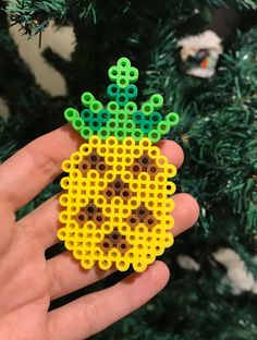 Pineapple Pin, Perler Beads, Button, Valentine gift, Pixel Art, Tropical Fruit, Bead and Felt Pin, Melty Beads, Cute, Brooch, Yellow