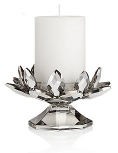 Cut Glass Pillar Candleholder with Candle | M&S