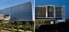 A pair of massive new complexes grace the Dallas Medical District: the new Parkland Memorial Hospital (left), which opens in August and UT Southwestern's Clements University Hospital (right), which opened in December.