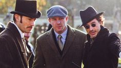 """Jude Law, director Guy Ritchie and Robert Downey Jr. on location for """"Sherlock Holmes"""" Warner Bros Movies, Literary Characters, Guy Ritchie, Jude Law, Robert Downey Jr, Sherlock Holmes, Iron Man, Cowboy Hats, Movie Tv"""