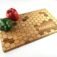 Cutting Board Personalized Wedding Gift Custom Wood Honeycomb Bee Hive Last Name Wedding Gift Laser Engraved Bamboo Gift Anniversary Gift
