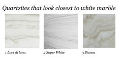Quartzites that look like white marble. Plus, the low-down on some other marble alternatives.