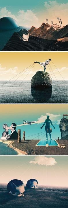 Julien Pacaud / NOWHERE Exhibition / Pa by colagene, illustration clinic , via Behance