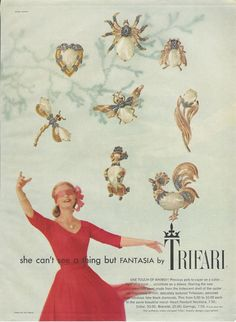 1957 TRIFARI Fantasia Pet Pins Brooch Poodle Rooster Dragonfly Spider Fly Bee Tulip Heart VINTAGE Costume Jewelry Photo Print Advertisement