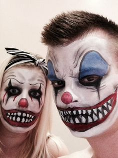 Amazing And Scary Couple Halloween Makeup Ideas For The Coming Halloween ; Coupl… Amazing And Scary Couple Halloween Makeup Ideas Maquillage Halloween Clown, Clown Halloween, Original Halloween Costumes, Couple Halloween Costumes, Halloween Make Up, Halloween Desserts, Diy Halloween Games, Halloween Nails, Halloween Projects