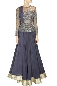 Ridhi Mehra  a dark grey net peplum top with sequins and shimmer thread work in floral design with attached bustier and net dupatta. It comes along with grey pleated lehenga in chiffon.