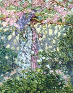 Frederick Frieseke (American artist, 1874-1939)  The Judas Tree - 1908-09