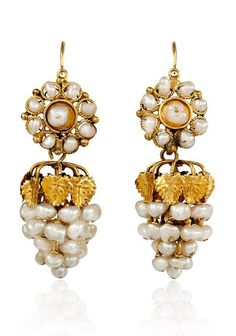A pair of antique gold and fresh water pearl pendant earrings in form of stylized grapes with day-to-night cluster tops, in 18k.  	      	  Circa:  	  1800