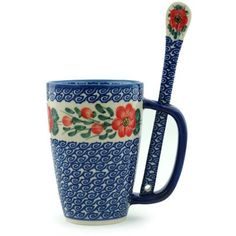Polish Pottery Mug with Spoon 19 oz UNIKAT -- Detailed information can be found by clicking on the image