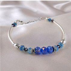 Purple and Aqua Crystal Bracelet. $25.00, via Etsy.