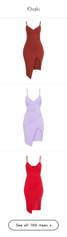 """""""Khaki"""" by angelbrubisc ❤ liked on Polyvore featuring dresses, crepe dress, red dress, midi day dresses, calf length dresses, wrap front dress, purple, mid calf dresses, lilac dress and crepe fabric dress"""