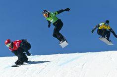 Trevor Jacob, Hagen Kearney and Fobert Fagan compete during the Sprint U. Snowboardcross Grand Prix at Canyons Resort on March (Chris Detrick Winter Olympics 2014, Ski And Snowboard, Salt Lake City, Grand Prix, Utah, Skiing, Photo Galleries, Powder, March