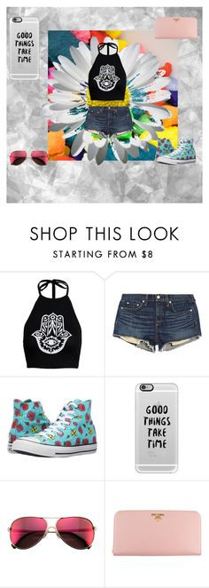 """good vibes"" by summerrouse on Polyvore featuring Boohoo, rag & bone, Converse, Casetify, Wildfox and Prada"