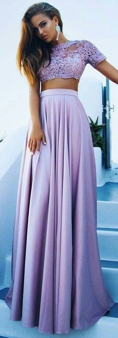 #summer #hot #weather #outfits |  Purple Lace Crop + Maxi Skirt