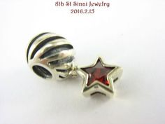 Signed-M-Sterling-Silver-925-European-Bead-Charm-RED-Star-Dangle