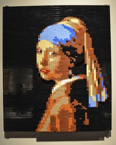 Lego artwork. The painting 'Girl with a Pearl Earring' is one of Dutch painter Johannes Vermeer's masterworks. It was painted in 1665 and today is kept in the Mauritshuis gallery in The Hague.