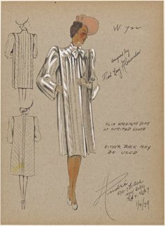 - André - Slim straight coat of striped cloth. From New York Public Library Digital Collections. 1930s Fashion, Vintage Fashion, Women's Fashion, Fashion Illustration Vintage, Fashion Illustrations, Fashion Drawings, Costume Design Sketch, Queen Of Spades, Funky Outfits
