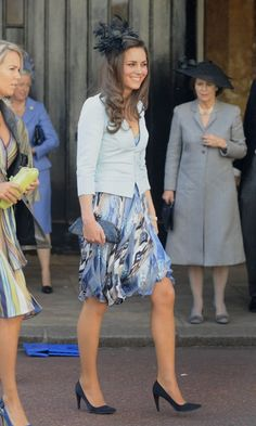 Kate Middleton Attends A Summer Wedding In A Watercolour Print Skirt, July 2008