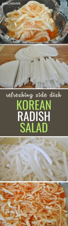 Moo means radish in Korean, and it has versatile use over almost any dish from salads to soups and even tea. This salad is similar to kimchi but a lot lighter and easier to make! | Radish Kimchi, Radish Salad, Korean Food Recipes, Healthy Food Recipes, Vegan Korean Food, Healthy Soup, Kalbi Ribs, South Korean Food, Best Dishes