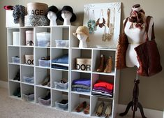 Good way to organize clothes and accessories without a dresser.