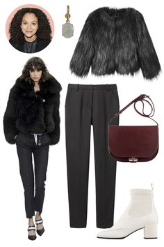 Inspiration: Louis Vuitton, Fall 2015 Shop the Look: Diesel Faux-Fur Jacket, $398; diesel.com; Rag & Bone Wool Trousers, $395; rag-bone.com Accessories: Ana Khouri Opal and Gold Earring, $4,768; Dover Street Market; A.P.C. Leather Handbag, $530; stylebop.com; Pierre Hardy Patent Leather Ankle Boot, $1,145; Collection at Blake, Chicago. - ELLE.com