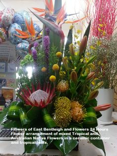 Stunning Arrangement Australian Native Flowers Christmas Ceramic Container Mixed Tropical