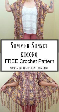 Crochet summer kimono pattern free 49 ideas for 2019 Kimono Crochet, Crochet Jacket, Crochet Cardigan, Crochet Scarves, Crochet Clothes, Crochet Sweaters, Crochet Vests, Freeform Crochet, Knitted Shawls