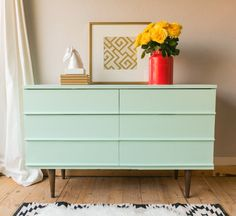Mint Green painted mid century modern dresser by VintageFreshShop - Site Title Furniture Projects, Furniture Making, Furniture Makeover, Home Furniture, Painted Furniture, Furniture Design, Mid Century Modern Dresser, Mid Century Modern Decor, Mid Century Modern Furniture