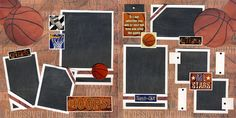 basketball scrapbook layouts | Basketball 2 Premade Pages Scrapbooking 12x12 Cherry | eBay